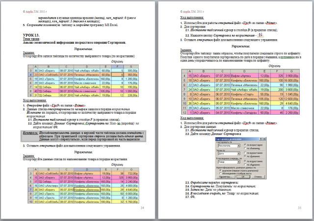 Применение MS Excel