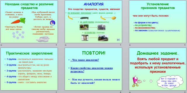 Аналогия  урок информатики 3 класс