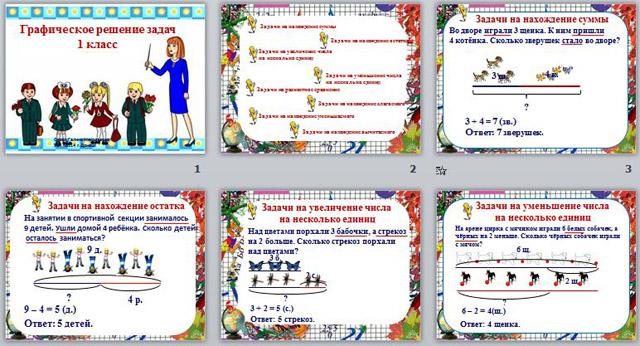 Графические решение задач по математике в 1 классе