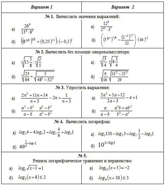 Контрольная работа 2 по теме корни степени логарифмы 5183
