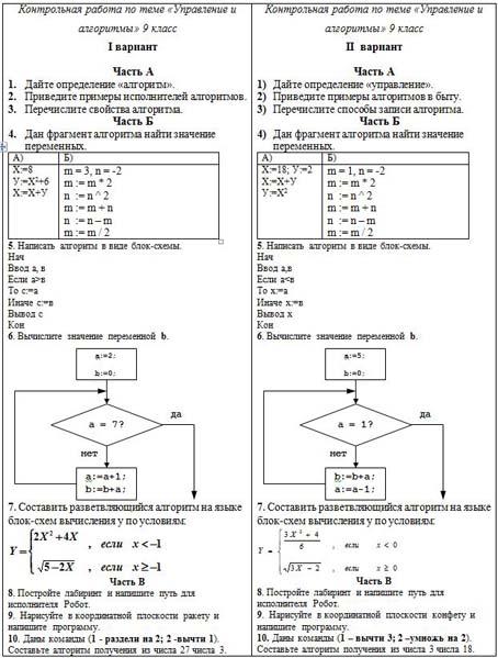 Контрольная работа Управление и алгоритмы  Контрольная работа управление и алгоритмы