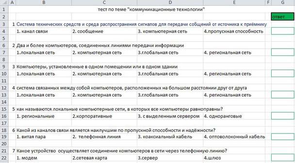 Тесты по коммуникационные технологии с ответами