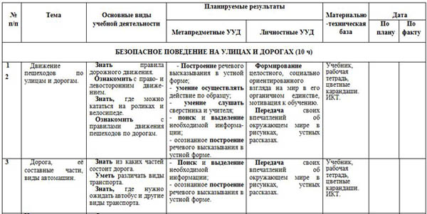 КТП кружка ОБЖ