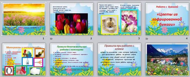 Презентация к уроку технологии по теме Изготовление цветов из гофрированной бумаги