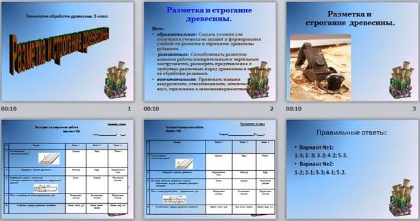 презентация по технологии Разметка и строгание древесины