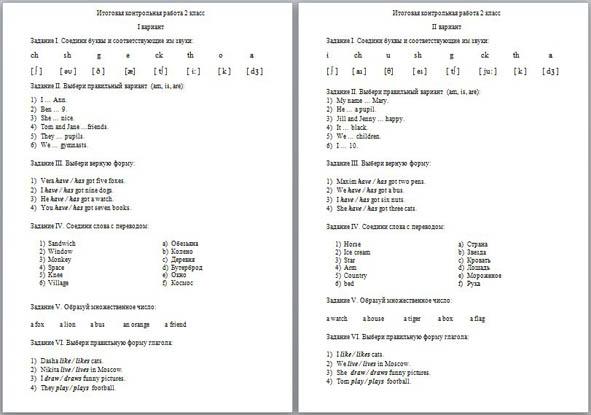Контрольная работа по английскому языку 2 вариант 1454