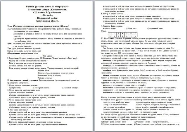 Урок русского языка на тему: Развитие словарного состава русского языка