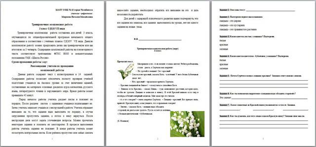 Тренировочная комплексная работа за iii четверть класс С К О  ренировочная комплексная работа за iii четверть 3 класс С К О vii вида