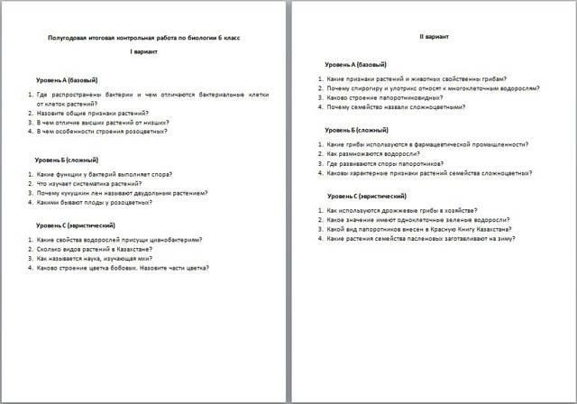 итоговая контрольная работа по биологии Полугодовая итоговая контрольная работа по биологии
