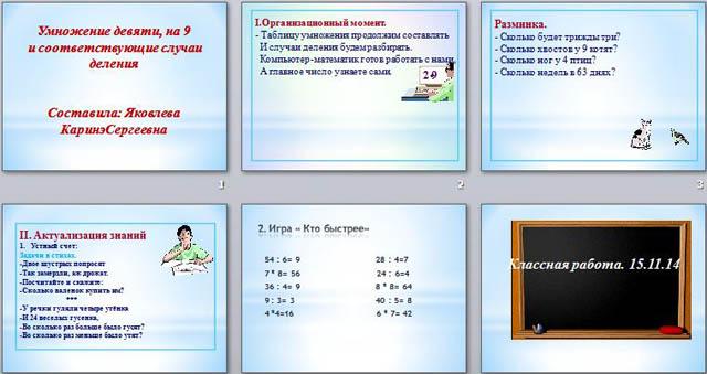 Презентация по математике для начальных классов Умножение 9 и на 9, соответствующие случаи деления