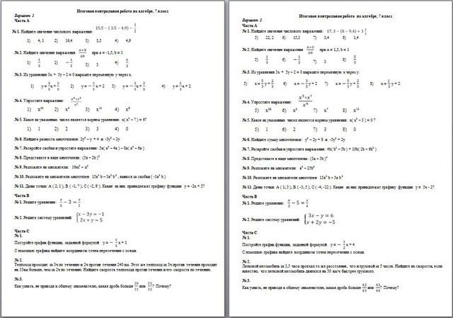 Итоговая контрольная работа по алгебре для класса Итоговая контрольная работа по алгебре