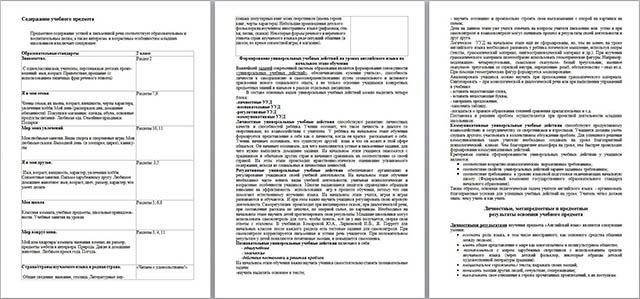 Рабочая программа по английскому языку для начальных классов (2 класс)