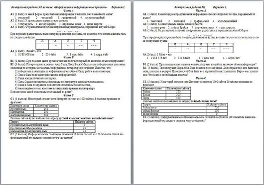 Информация и информационные процессы контрольная работа 1 6589