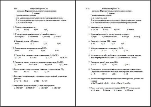 Контрольная работа по химии на тему Первоначальные химические  Контрольная работа по химии на тему Первоначальные химические понятия