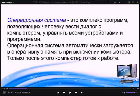 Видеоурок по информатике Назначение и элементы интерфейса операционной системы