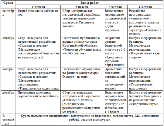 Материал на тему Индивидуальный план развития аттестуемого учителя физической культуры