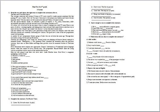 контрольная работа по английскому языку за курс класса Итоговая контрольная работа по английскому языку за курс 9 класса