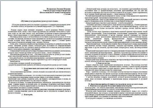 Обучение культуре речи на уроках русского языка