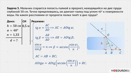 Закон преломление света задачи с решением решение задач шестой класс